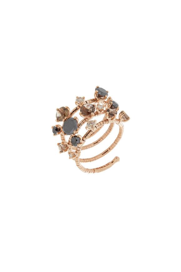 Mattia Cielo 18K Rose Gold Diamond 3 Coil Ring