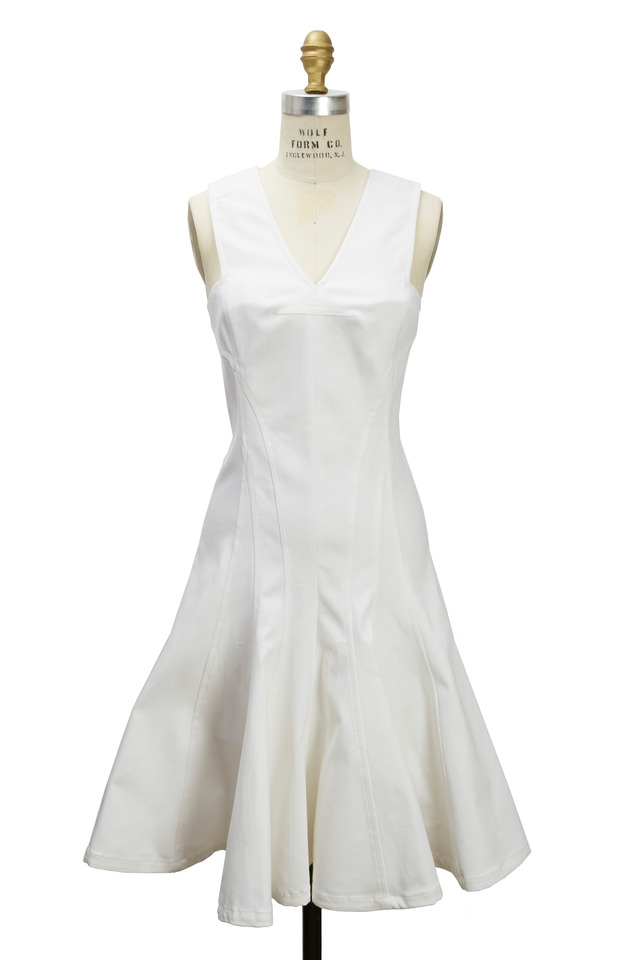 White Denim Twill Dress