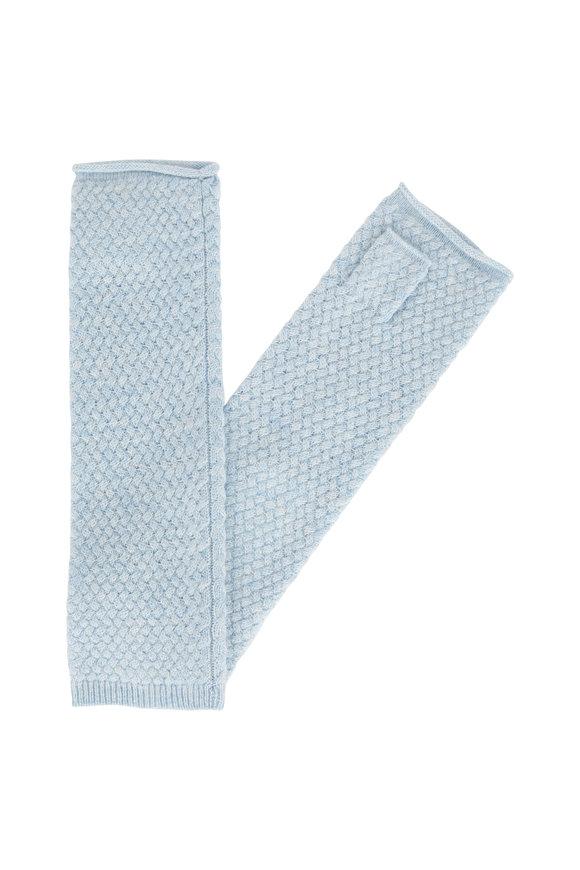 Kinross Ice Basketweave Cashmere Fingerless Gloves