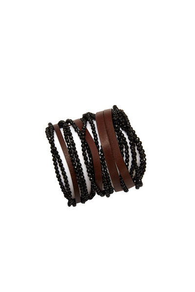 Brunello Cucinelli - Black & Tobacco Agate Leather Cuffs