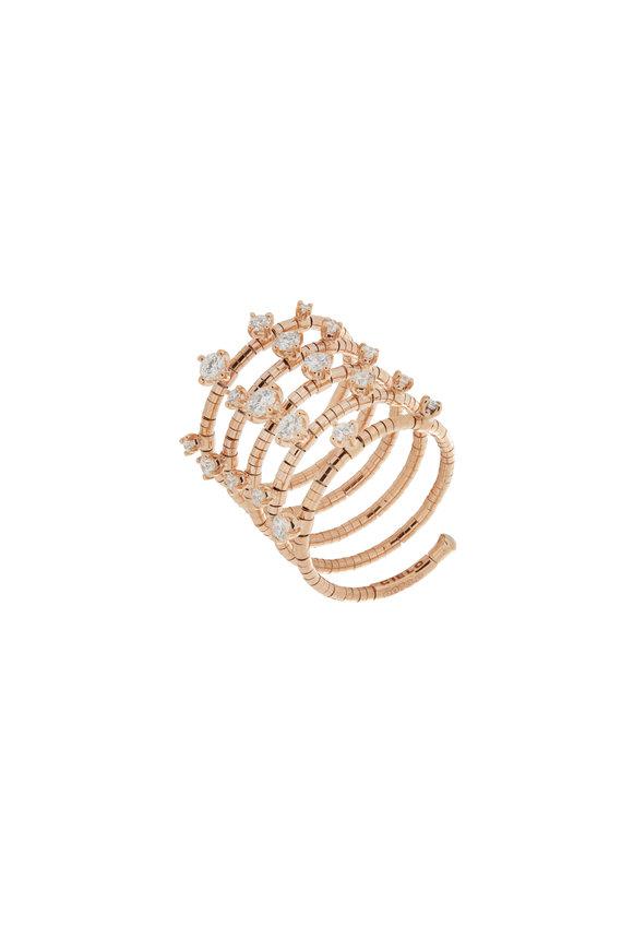 Mattia Cielo 18K Rose Gold Diamond 5 Coil Ring