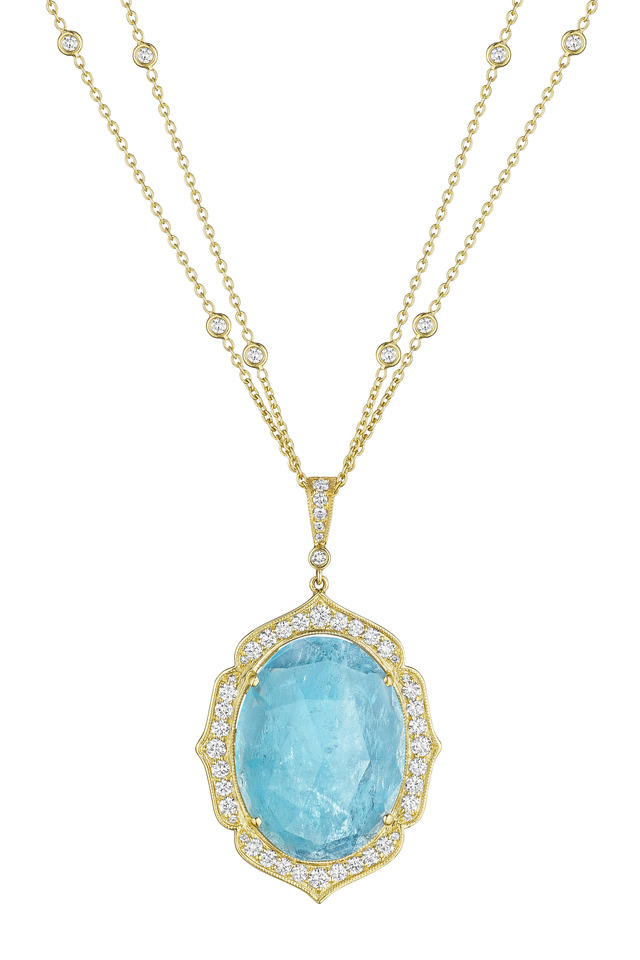 Oval Aqua Enhancer with Gold and Pave Frame and Diamond Bale