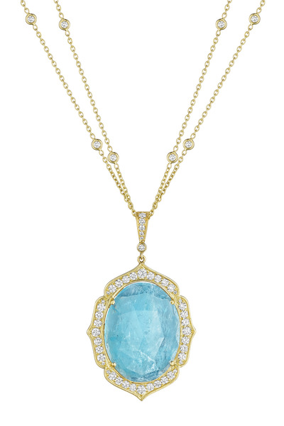 Penny Preville - Oval Aqua Enhancer with Gold and Pave Frame and Diamond Bale