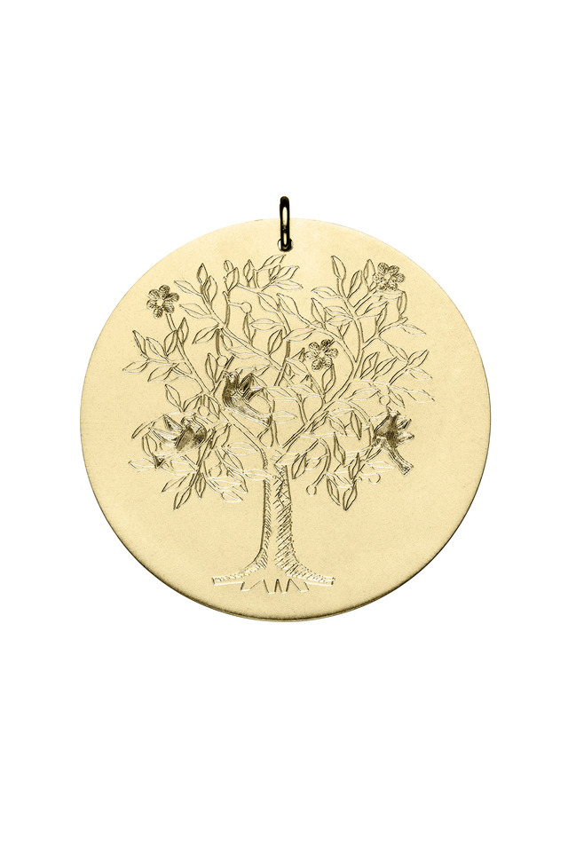 Yellow Gold Tree Of Life Charm Pendant