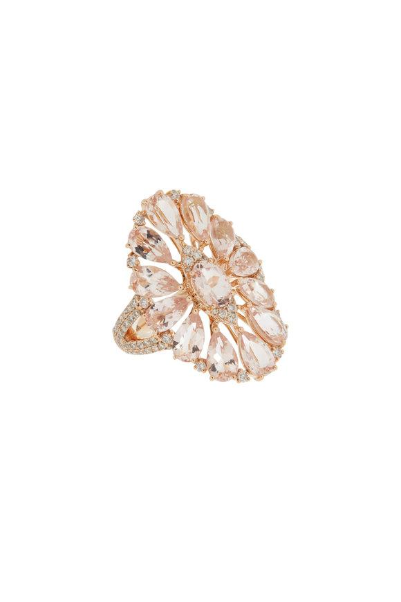 Sutra 18K Rose Gold Morganite & Diamonds Ring