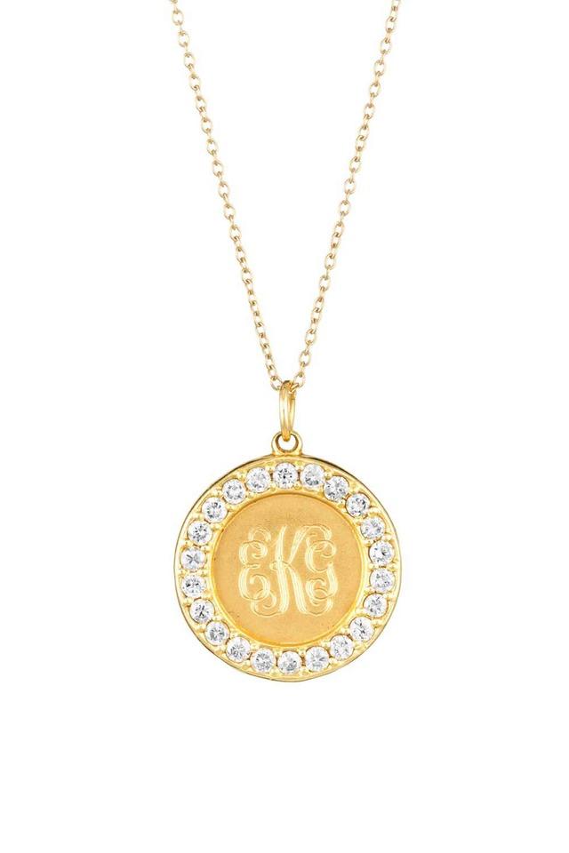 Yellow Gold White Sapphire Monogram Pendant