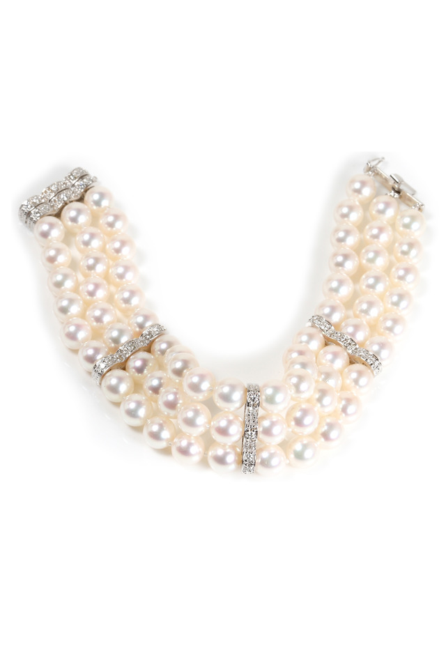 White Gold 3 Row Cultured Pearl Diamond Bracelet