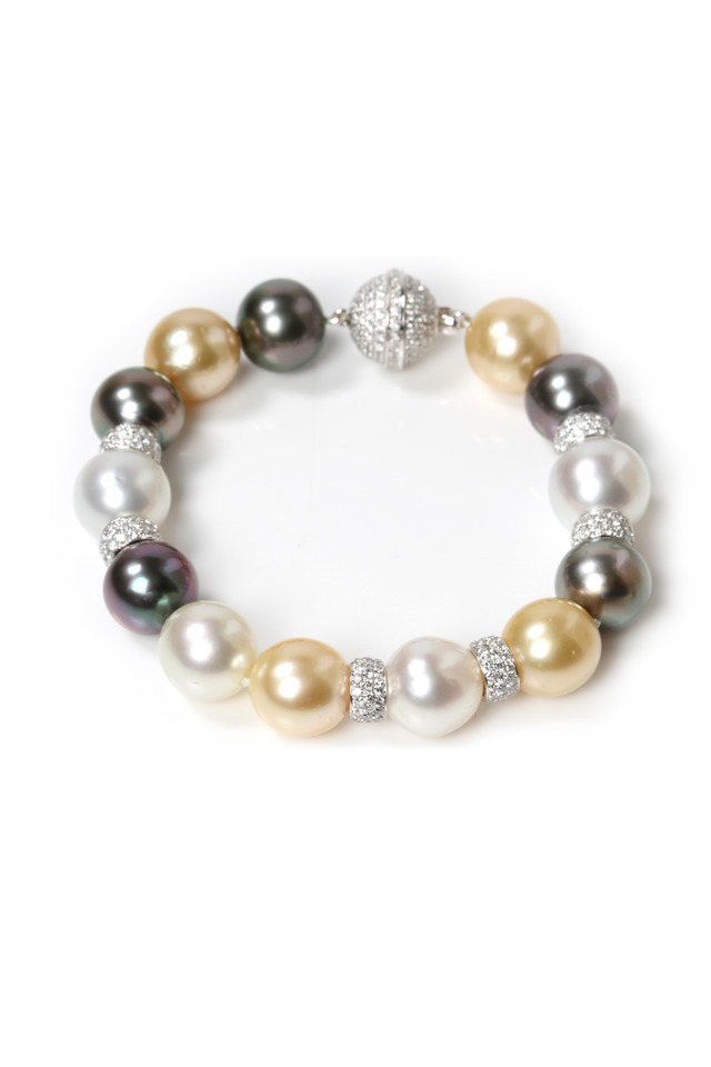 Gold Tahitian South Sea Pearls Diamond Bracelet