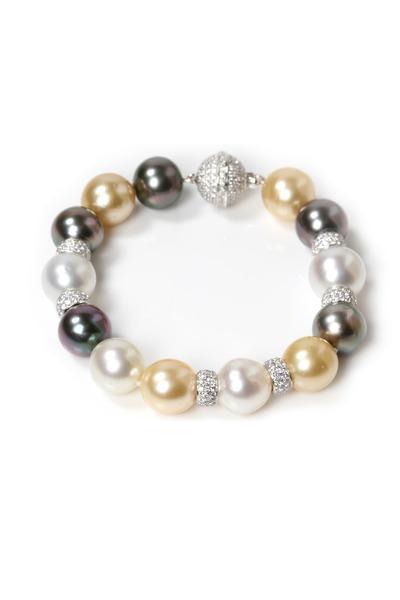 Assael - Gold Tahitian South Sea Pearls Diamond Bracelet