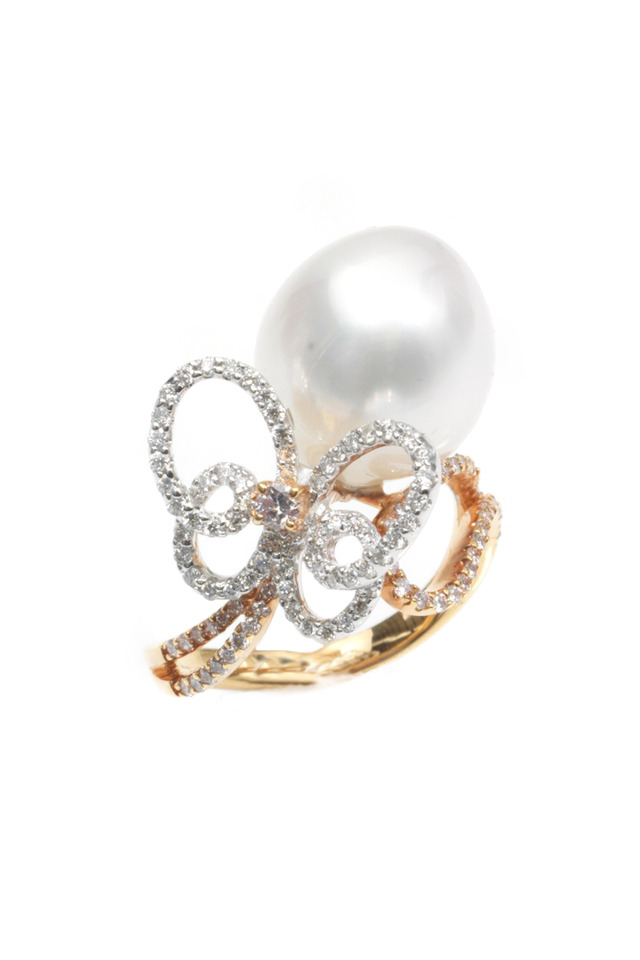 Rose Gold South Sea Pearl Diamond Ring