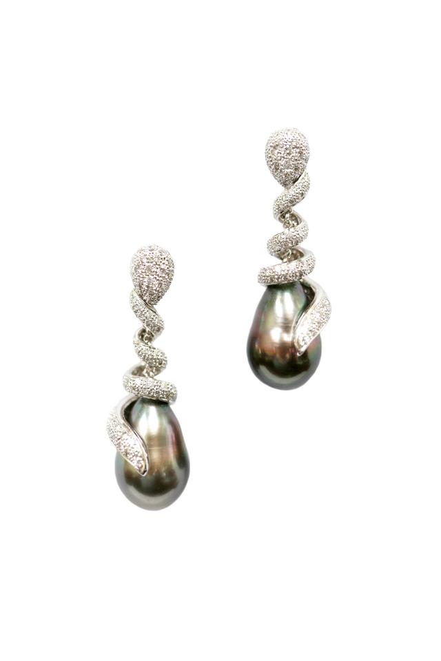 White Gold Tahitian Pearl & Diamond Earrings