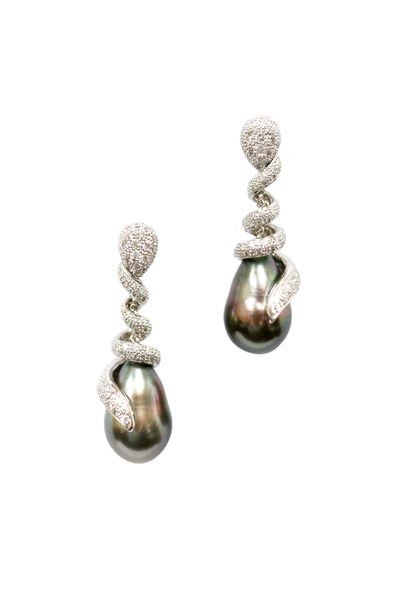 Assael - White Gold Tahitian Pearl & Diamond Earrings