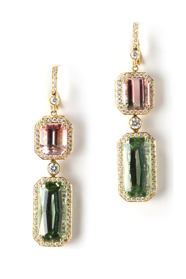Yellow Gold Tourmaline Diamond Earrings