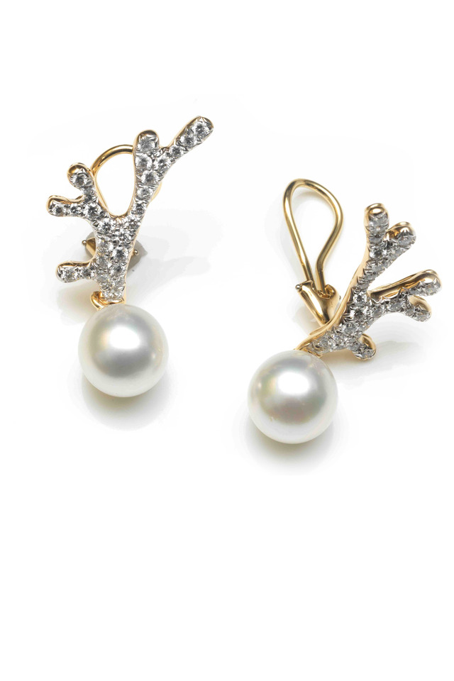 Angela Cummings Filligree Pearl Diamond Earrings