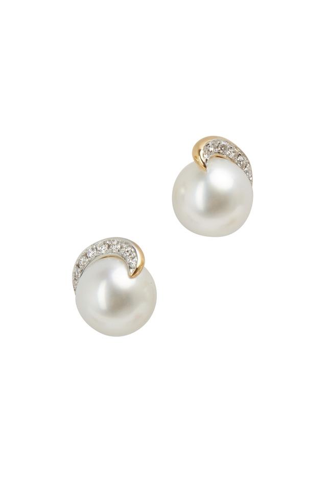 Angela Cummings Pearl & Diamond Scroll Earrings