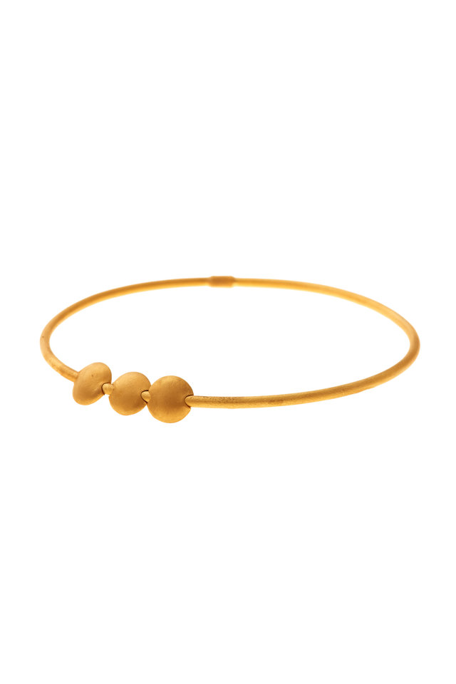 24K Yellow Gold Round Disc Stack Jane Bangle