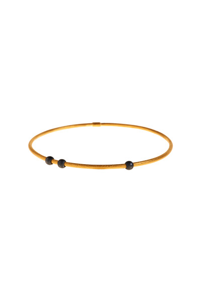 Yossi Harari - Jane Oxidized Gilver Round Bead Stack Bangle