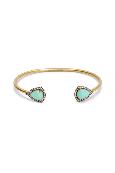 Sylva & Cie - Yellow Gold Chrysoprase Diamond Cuff Bracelet