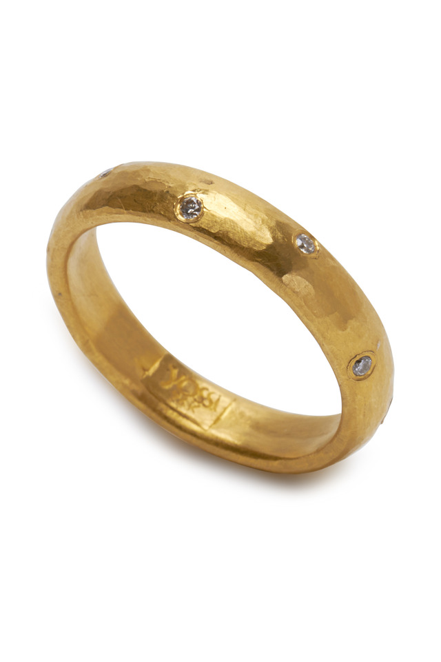 Mica Yellow Gold Sprinkle Diamond Band