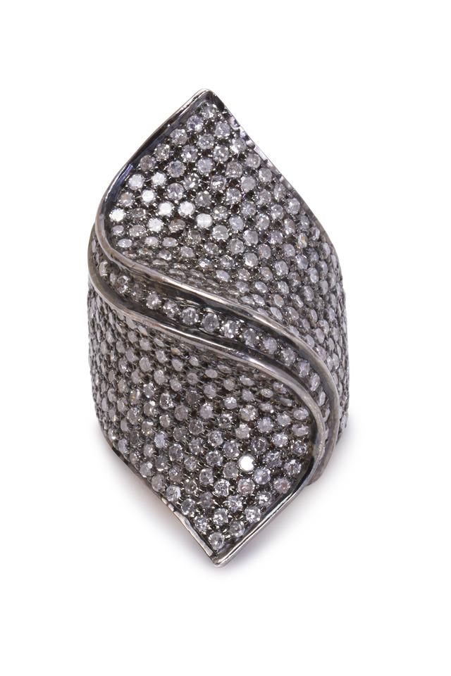 Gold & Silver Pavé-Set Diamond Twist Ring