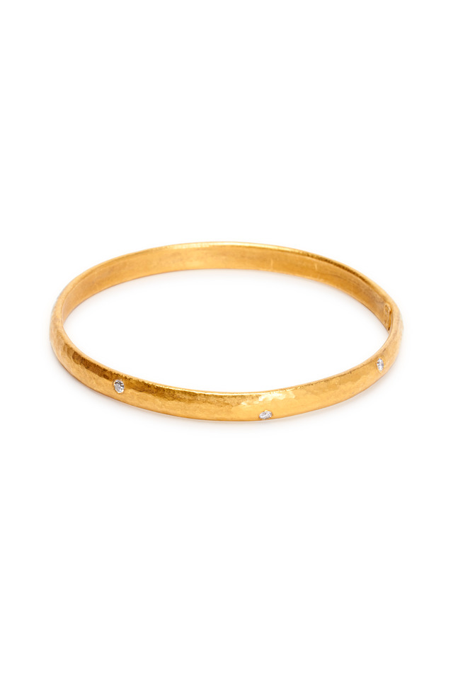 Yellow Gold Diamond Mica Bangle
