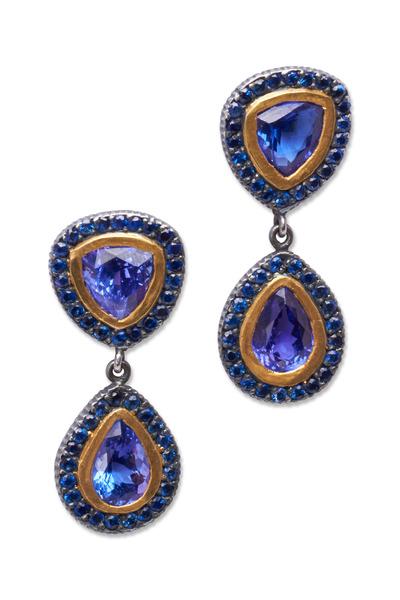 Yossi Harari - Gold Tanzanite Blue Sapphire Earrings