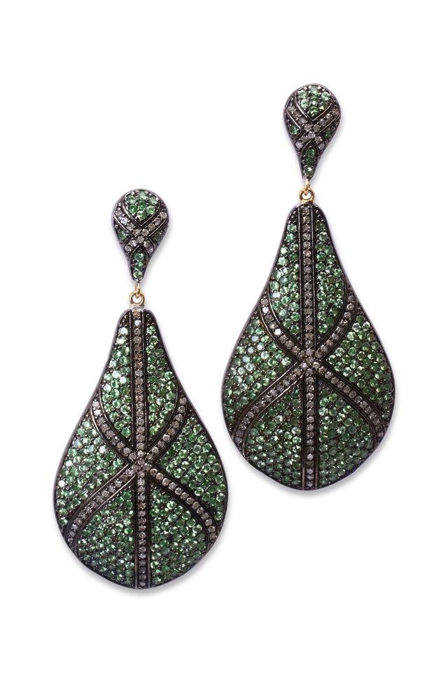 Gold & Silver Tsavorite Diamond Teardrop Earrings