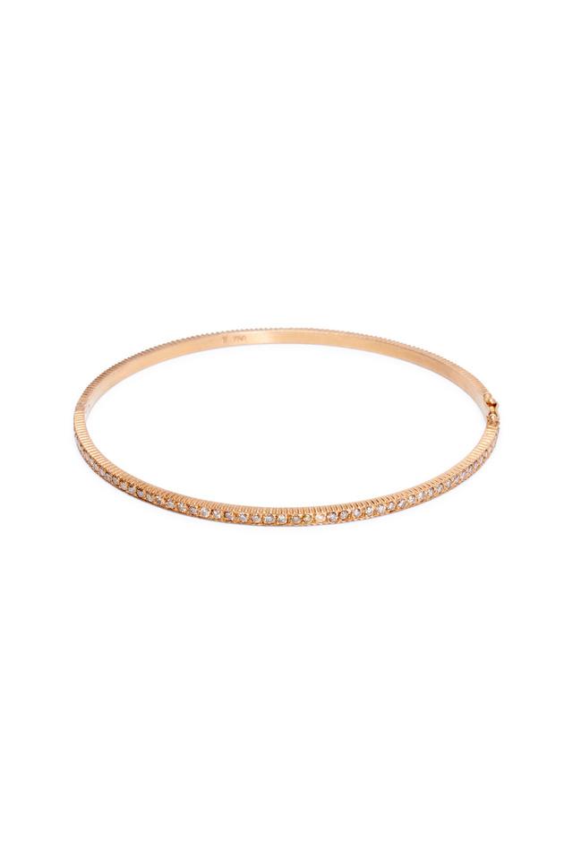 Rose Gold Pavé-Set Champagne Diamond Bangle