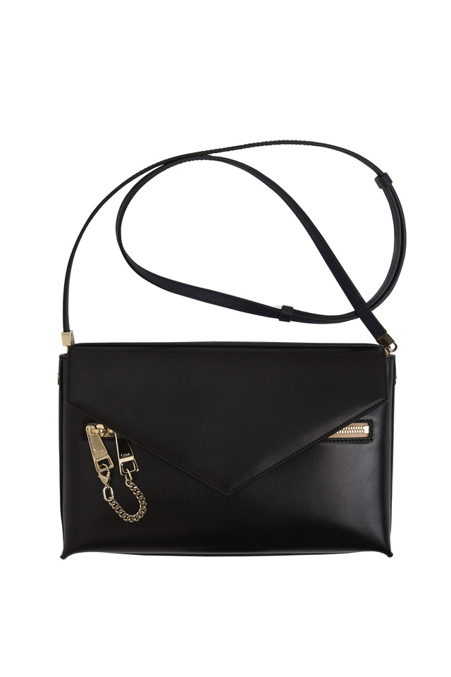 Cassie Black Leather Crossbody Bag