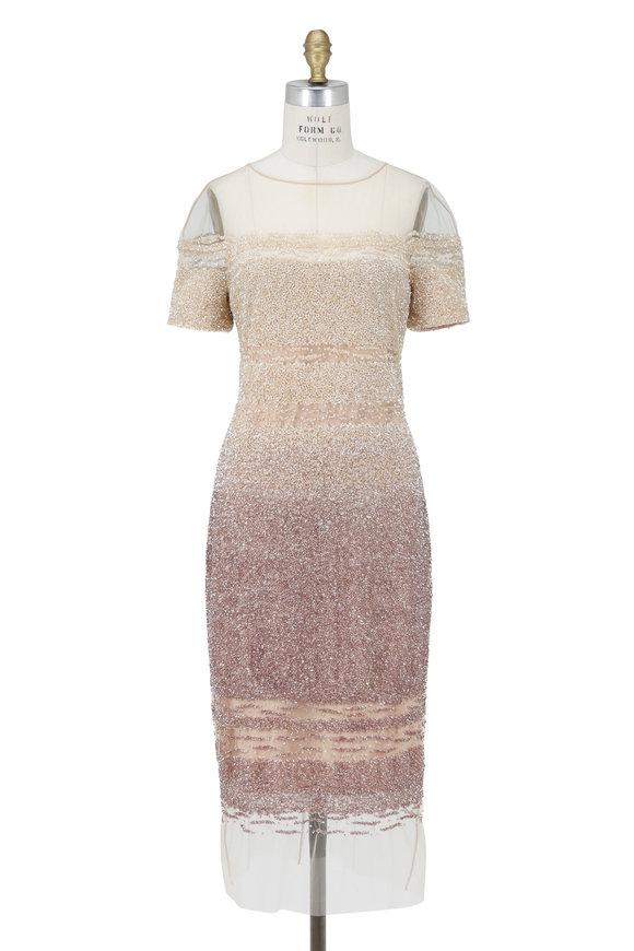 Pamella Roland Signature Champagne Tulle Sequined Ombré Dress
