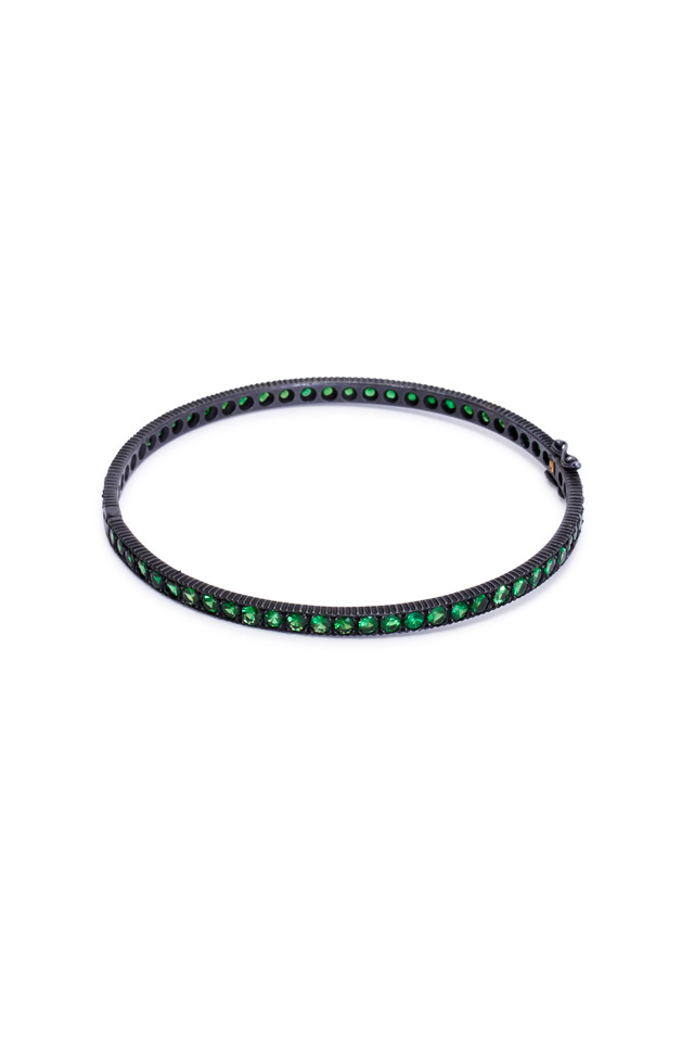 Lilah Tsavorite Hinged Bangle Bracelet