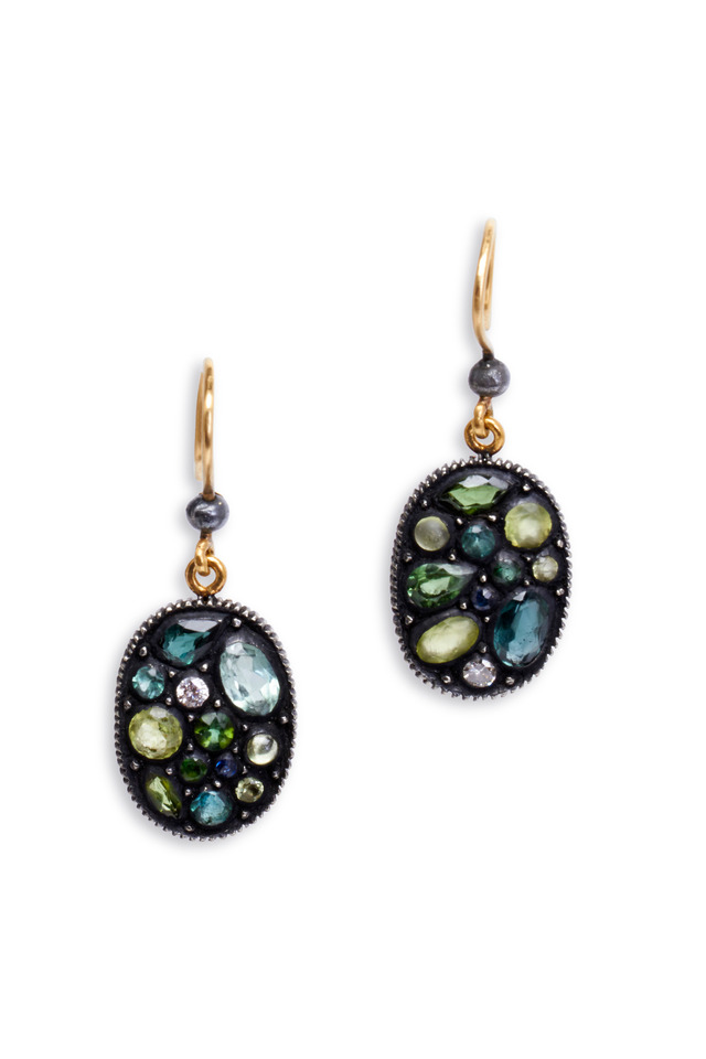 Sara Green Large Oval Mosaic Earrings