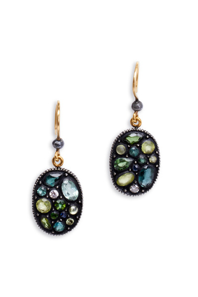 Yossi Harari - Sara Green Large Oval Mosaic Earrings