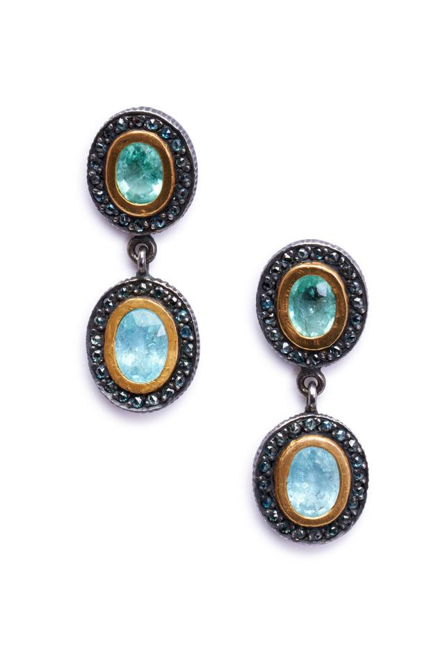 Lilah Paraiba Tourmaline Blue Diamond Earrings
