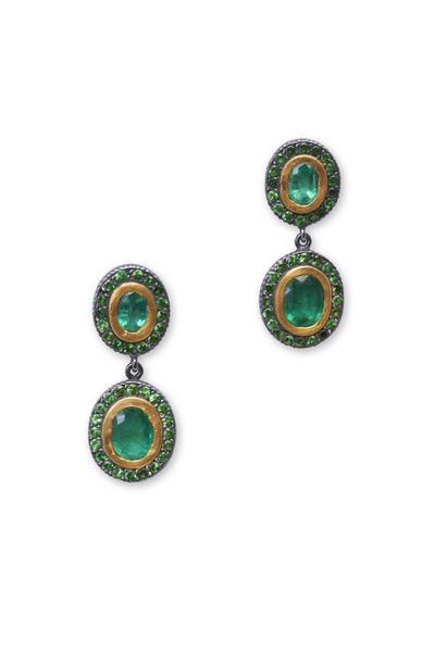 Yossi Harari - Ella Long Tsavorite Earrings