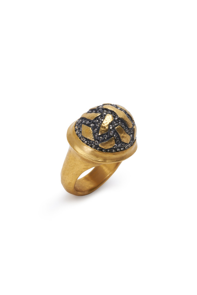 Libra Yellow Gold Cognac Diamond Dome Ring