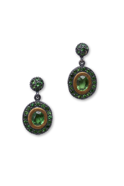 Yossi Harari - Ella Oxidized Gliver Tsavorite Earrings