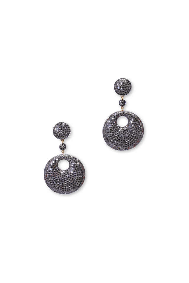 Gold & Silver Black Diamond Round Drop Earrings