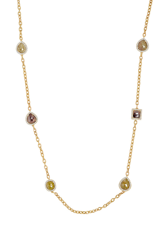 Yellow Gold Rough Diamond Chain Necklace