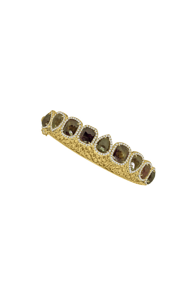 Yellow Gold Rough & White Diamond Line Bracelet