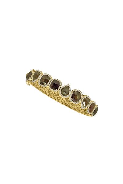 Sutra - Yellow Gold Rough & White Diamond Line Bracelet