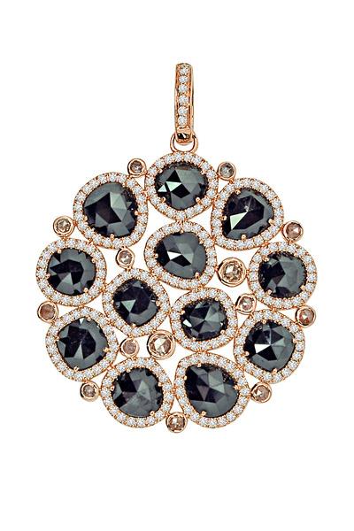 Sutra - 18K Rose Gold Black & White Diamond Pendant