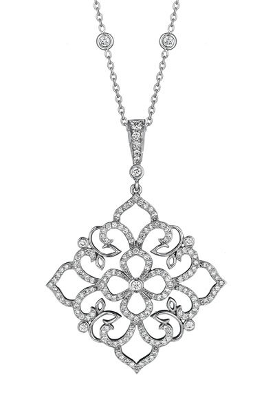Penny Preville - White Gold Lace Leaf Enhancer Pendant