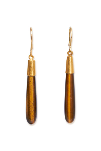 Yossi Harari - Yellow Gold Tigers Eye Earrings