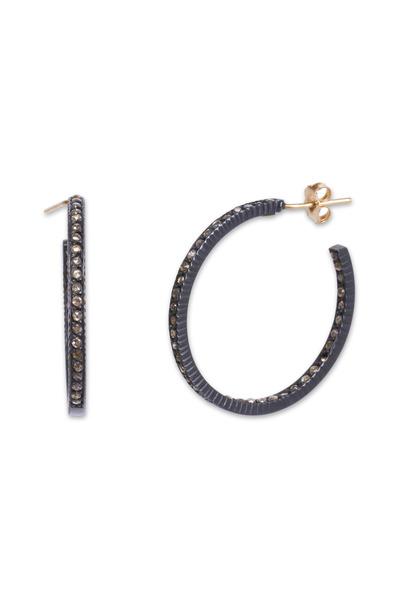 Yossi Harari - Lilah Pavé-Set Cognac Diamond Medium Hoop Earrings