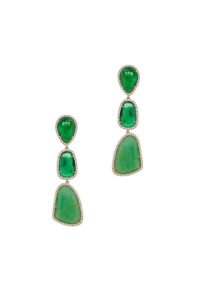 Rose Gold Green Emerald Diamond Drop Earrings