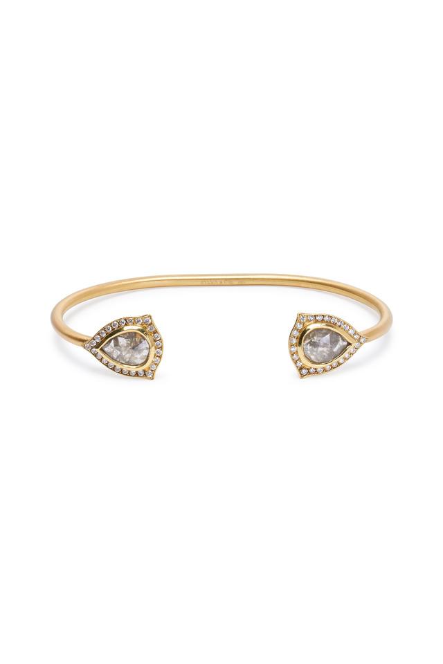 Yellow Gold Rough Diamond Slice Cuff Bracelet