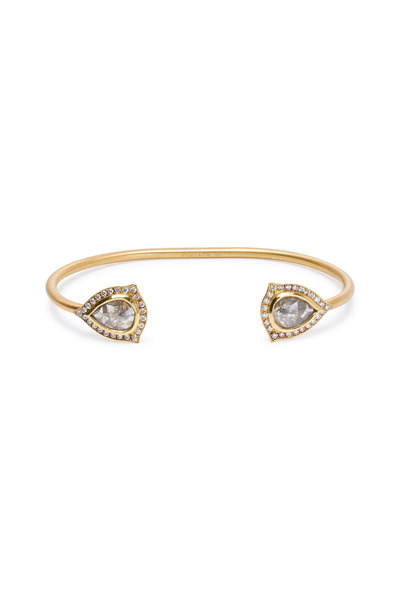 Sylva & Cie - Yellow Gold Rough Diamond Slice Cuff Bracelet