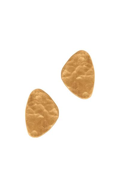 Yossi Harari - Hammered Yellow Gold Mini Stud Earrings