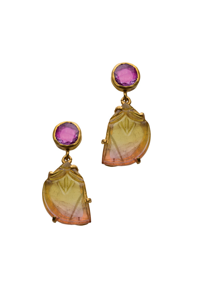 Carmen Yellow Gold Sapphire Tourmaline Earrings